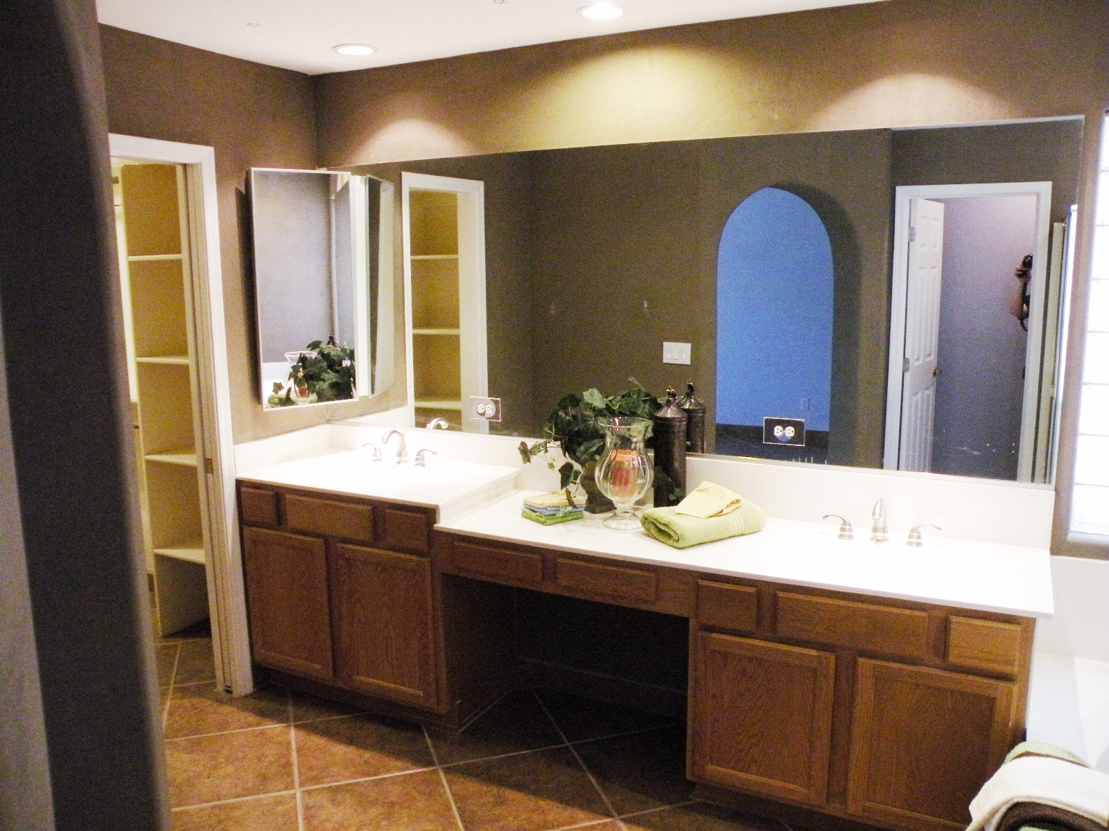 Bathroom vanity with makeup area viewing gallery