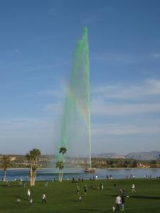The Beautiful Green Fountain at 12 Noon on St. Patricks Day
