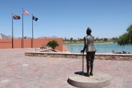Fountain Hills Veterans Memorial features this bronze WWI era soldier